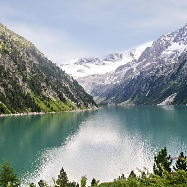 """Schlegeis dam and reservoir"" stock image"