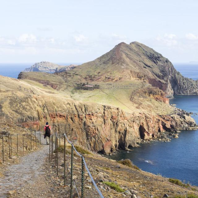 """Volcanic landscape at Cape Ponta de Sao Lourenco on Madeira isla"" stock image"