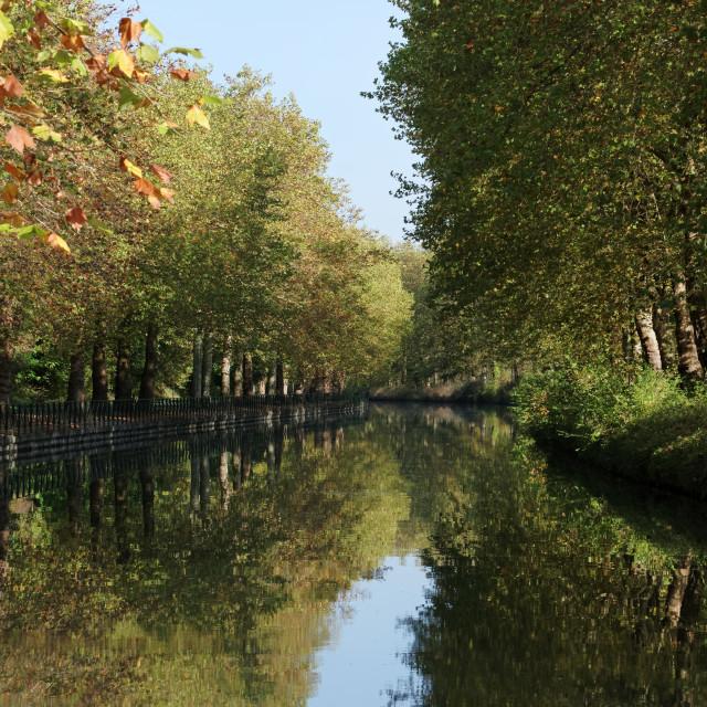 """Loing canal in autumn season"" stock image"