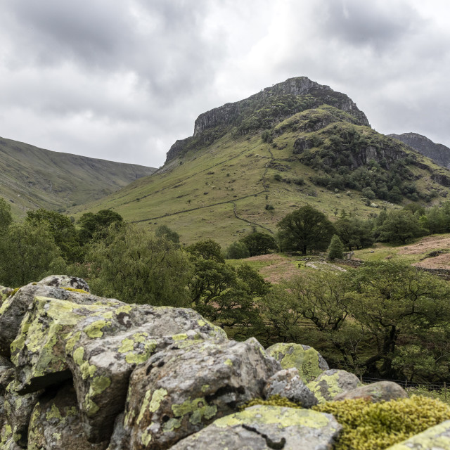 """""""Eagle Crag from the Cumbria Way, Lake District, Cumbria"""" stock image"""