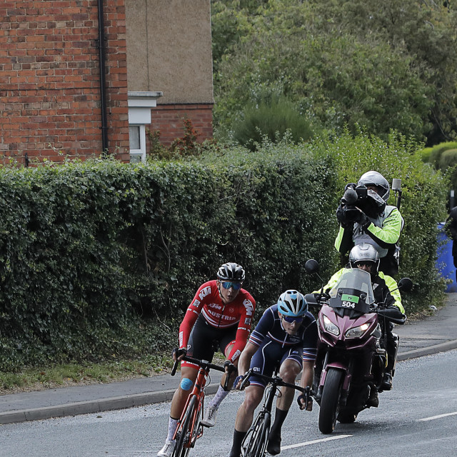 """""""The current leaders, UCI mens U23 road race, Snaith"""" stock image"""