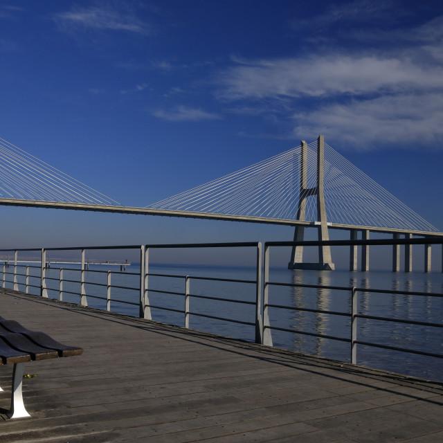 """Vasco da Gama Bridge - Lisboa, Portugal"" stock image"