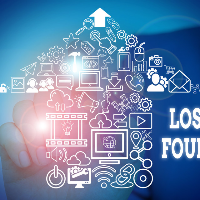 """Conceptual hand writing showing Lost Found. Business photo showcasing Things..."" stock image"