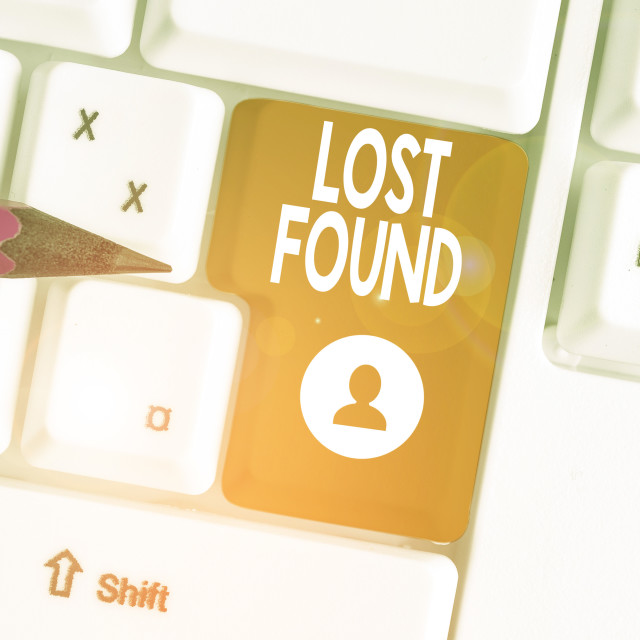 """Conceptual hand writing showing Lost Found. Business photo text Things that..."" stock image"