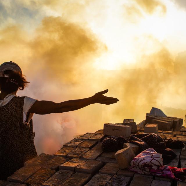 """""""Burning bricks"""" stock image"""
