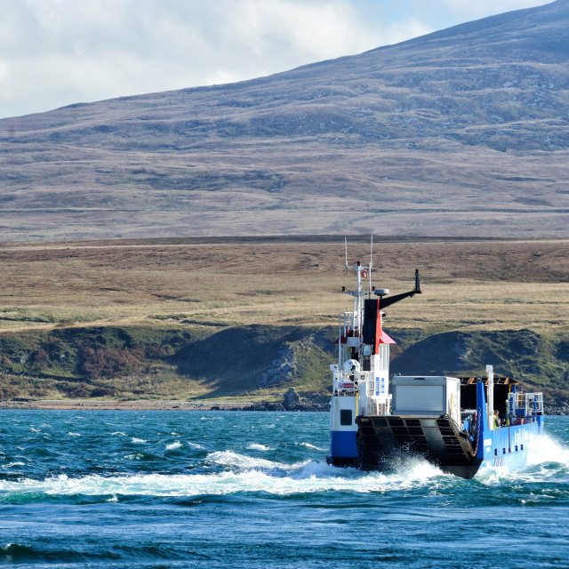 """Fighting the tidal current - Ferry to Jura"" stock image"