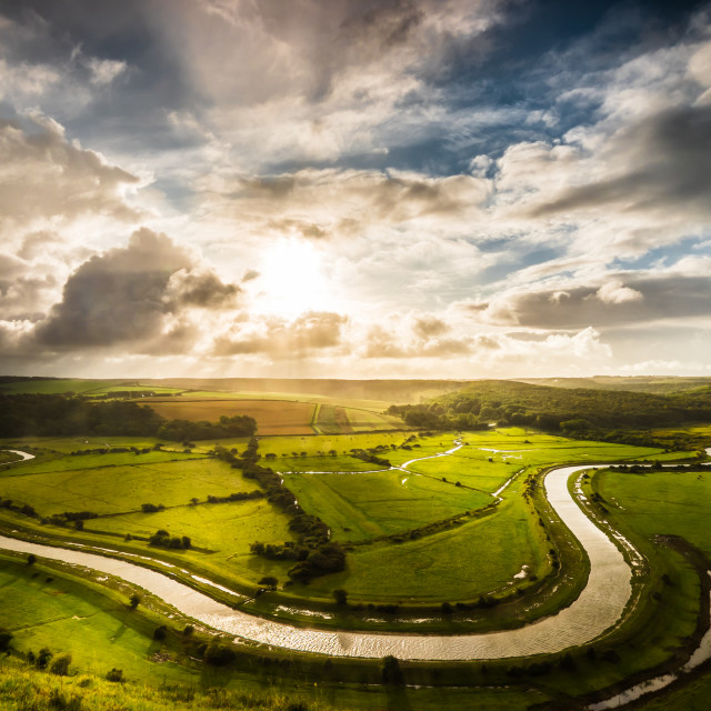 """View over River Cuckmere from High and Over, Litlington."" stock image"
