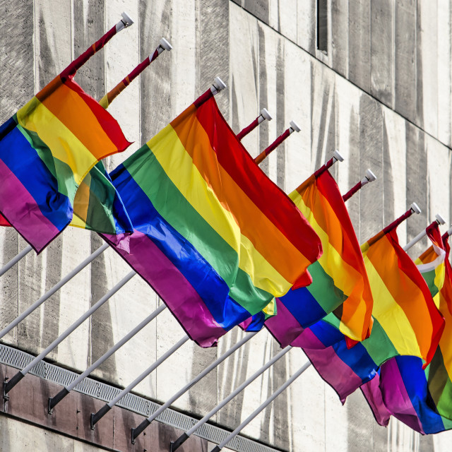 """""""Rainbow flags on department store"""" stock image"""
