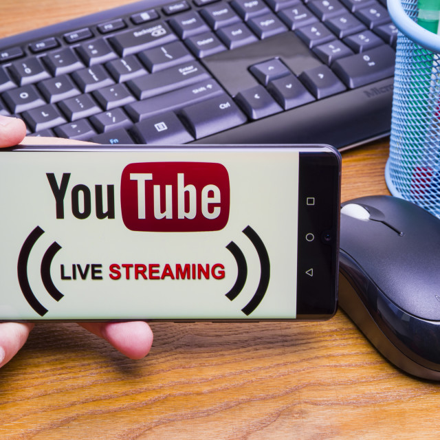 """""""Youtube Live on mobile phone"""" stock image"""