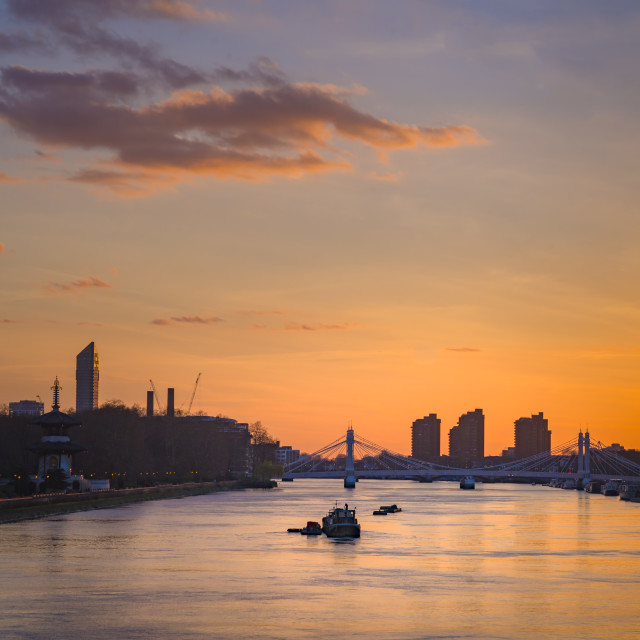 """Sunset view of the River Thames from Chelsea Bridge, London."" stock image"