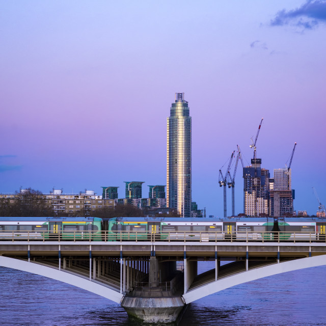 """View of St George Wharf Tower and Grosvenor Bridge, London."" stock image"