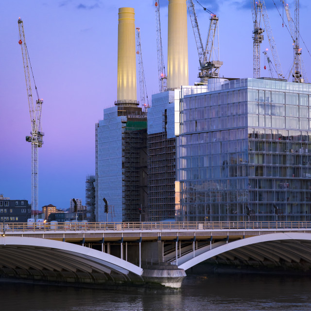 """View of Battersea Power Station and Grosvenor Bridge, London."" stock image"
