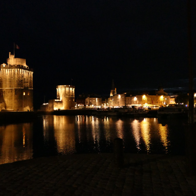 """La Rochelle at night"" stock image"