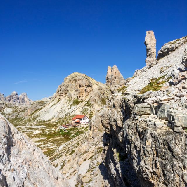 """hiking drei zinnen mountains"" stock image"