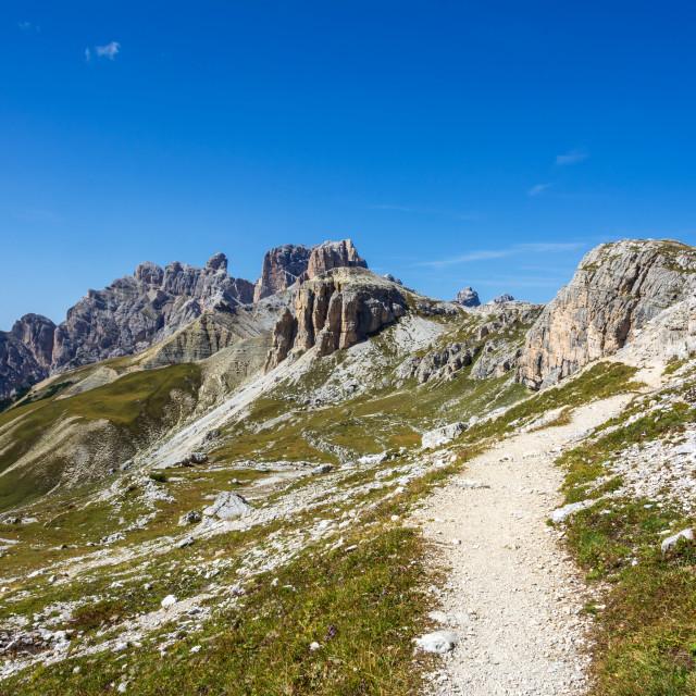 """hike around drei zinnen mountains"" stock image"