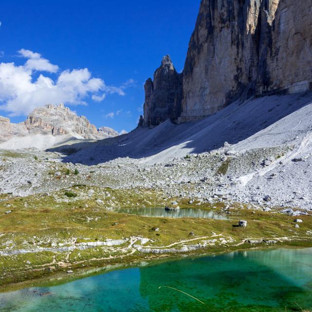 """hike drei zinnen in dolomite mountains"" stock image"
