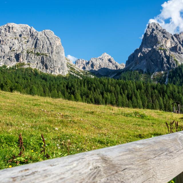 """dolomite mountains and lake misurina"" stock image"
