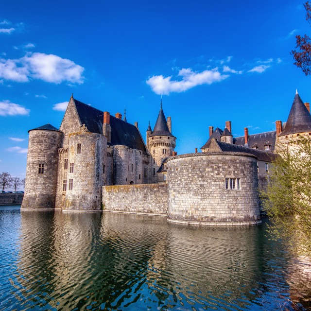 """Famous medieval castle Sully sur Loire, Loire valley, France."" stock image"