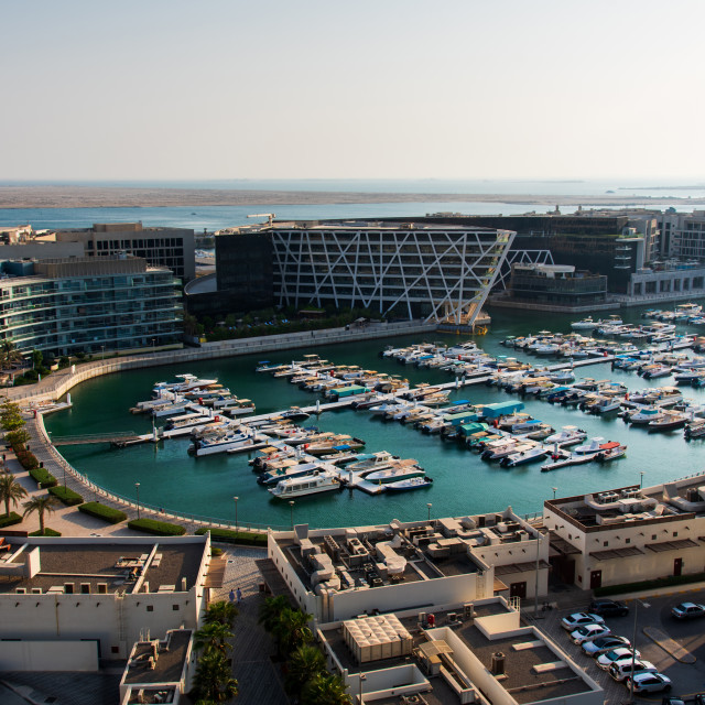 """Al Marasy Marina view with luxury yachts in Abu Dhabi, Al Bateen area"" stock image"