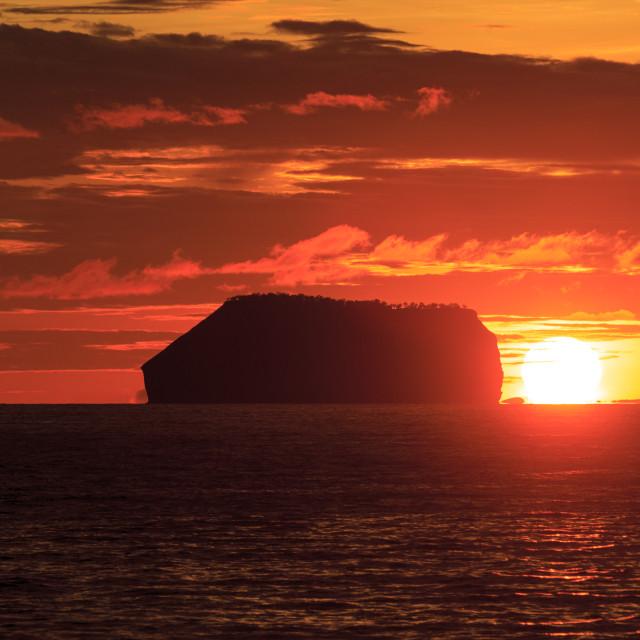 """1430 - Galápagos: view on Daphne Minor at sunset"" stock image"