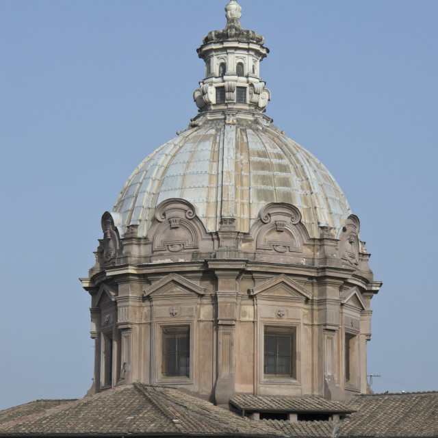 """Dome of the church of Saint Luke and Martina in the Roman Forum"" stock image"