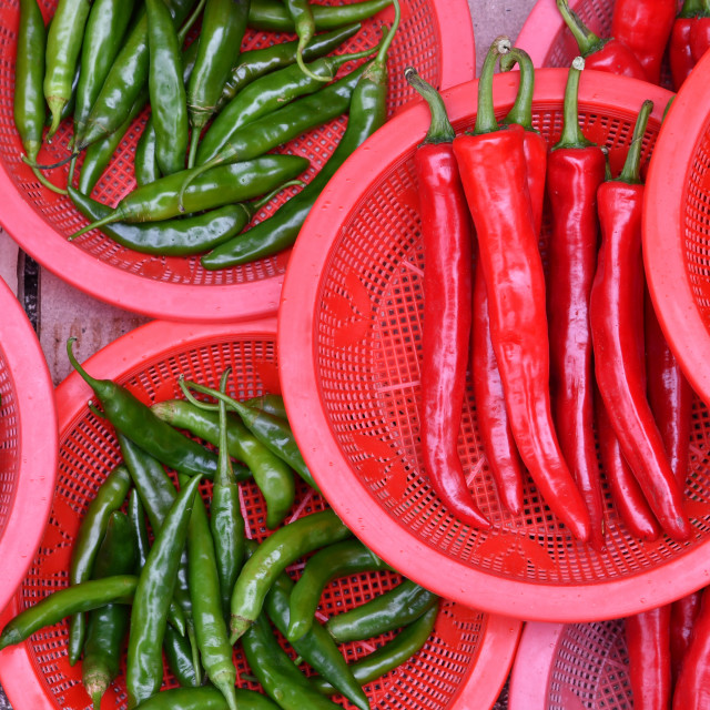 """Red and Green Peppers"" stock image"