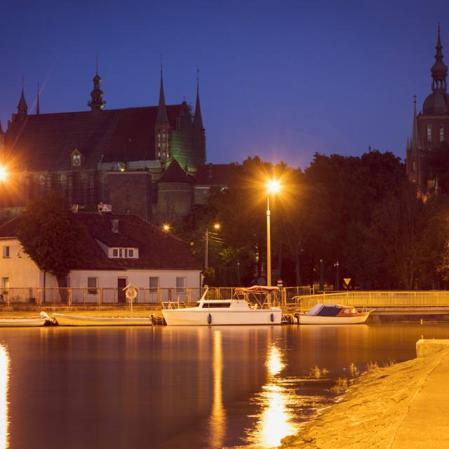 """Frombork Basilica seen from the marina"" stock image"