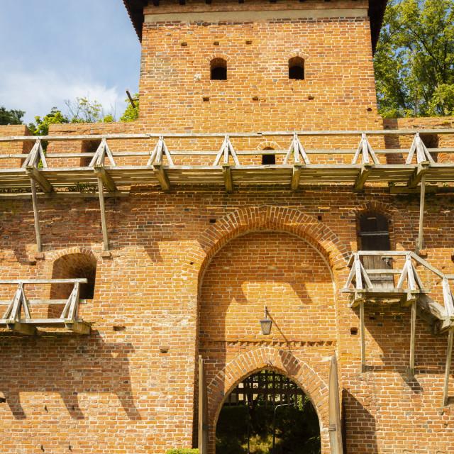 """Walls around Basilica in Frombork"" stock image"