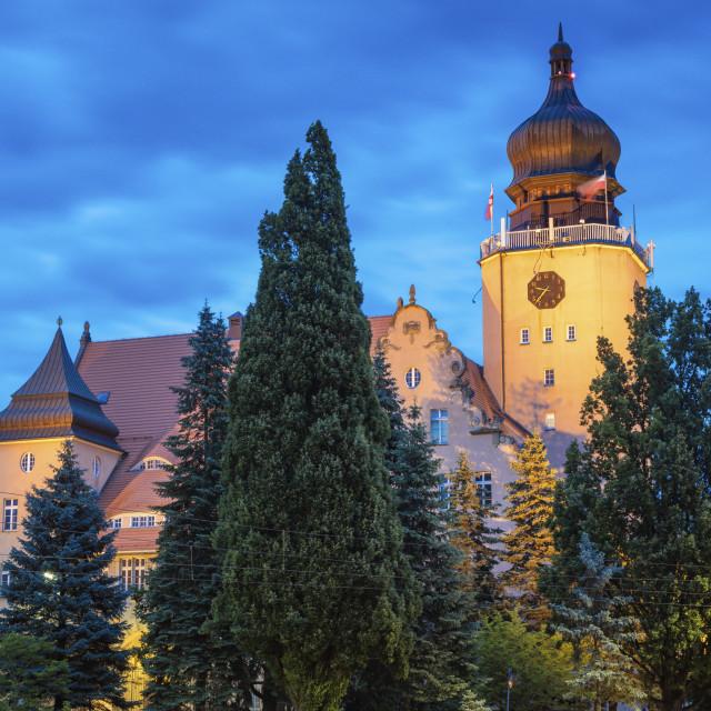 """Elblag city hall at night"" stock image"