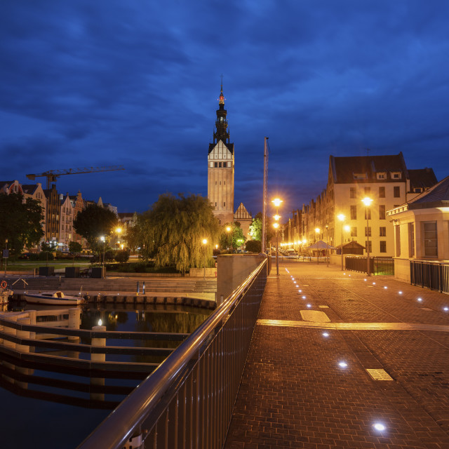 """""""Architecture of Elblag at night"""" stock image"""