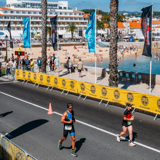 """Ironman 70.30 Competition athletes in Cascais, Portugal, Europe"" stock image"