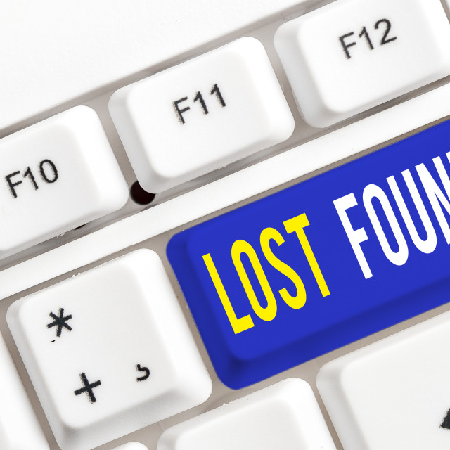 """Text sign showing Lost Found. Conceptual photo Things that are left behind..."" stock image"