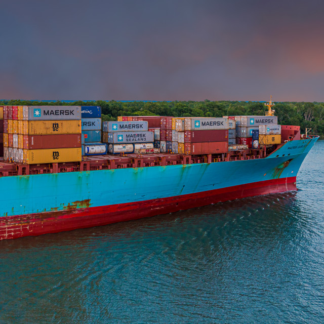 """""""Maersk Freighter at Dawn"""" stock image"""