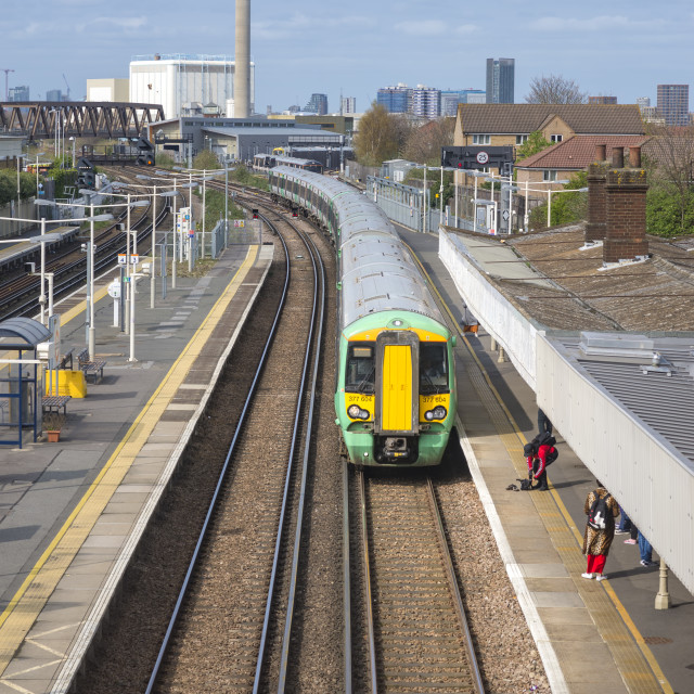 """View of train tracks at New Cross station."" stock image"