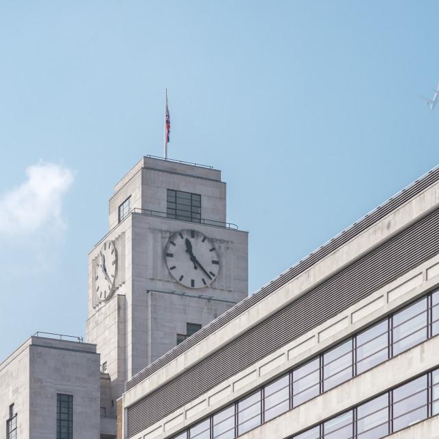 """Art deco clock, 157 Buckingham Palace Road, London."" stock image"