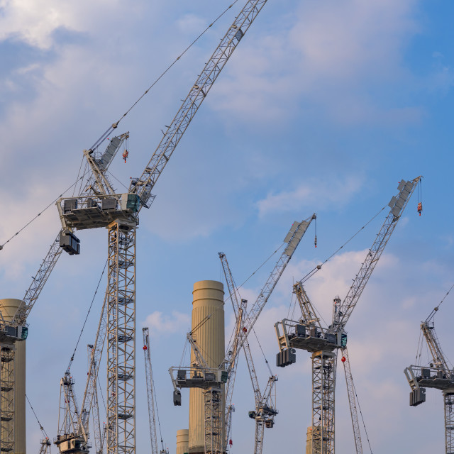 """Battersea Power Station Chimneys and Cranes"" stock image"
