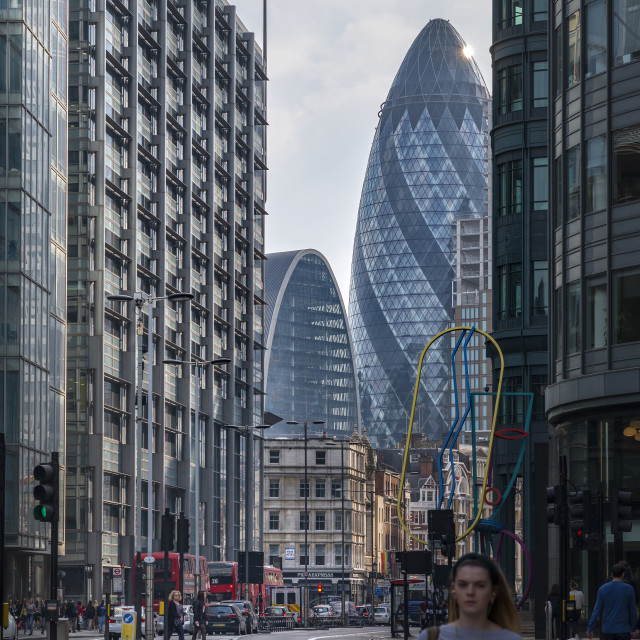 """The Gherkin, 30 St Mary Axe, City of London."" stock image"