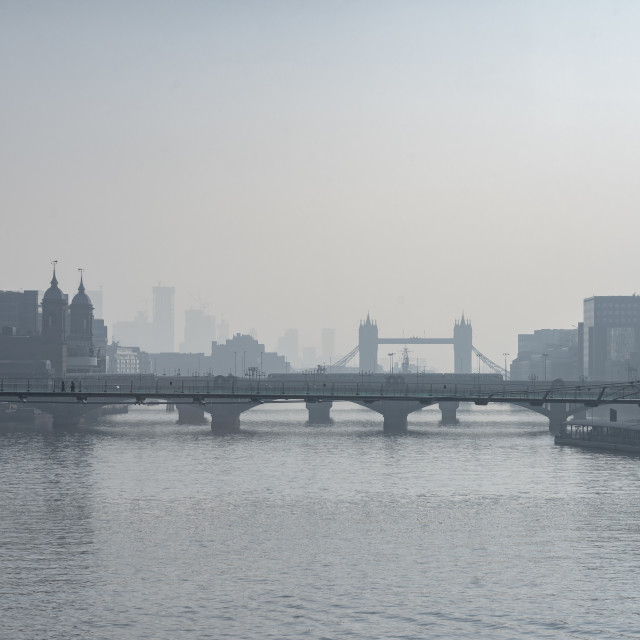 """A misty view over the Thames."" stock image"