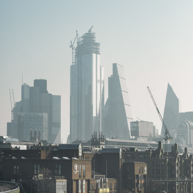 """A misty view of the City of London from Blackfriar's bridge."" stock image"