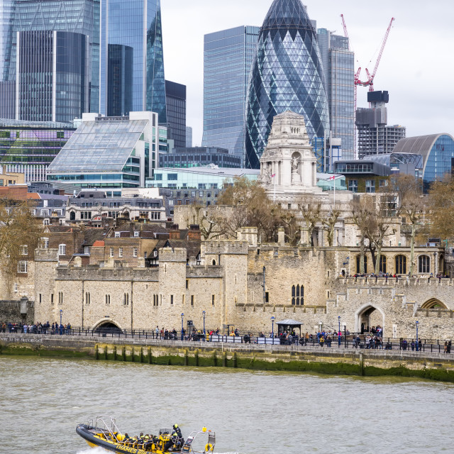 """View of the City and Tower of London."" stock image"