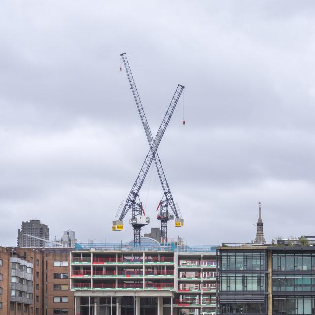 """Riverside development, X marks the spot."" stock image"