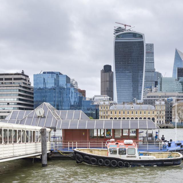 """London Bridge City Pier and The City."" stock image"