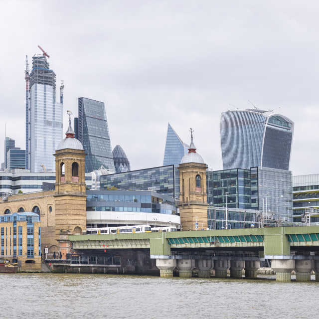 """The City and Cannon Street station and bridge, London."" stock image"