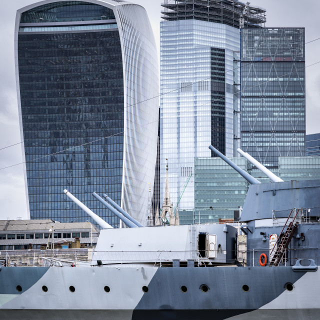 """Detail of HMS Belfast and The City"" stock image"