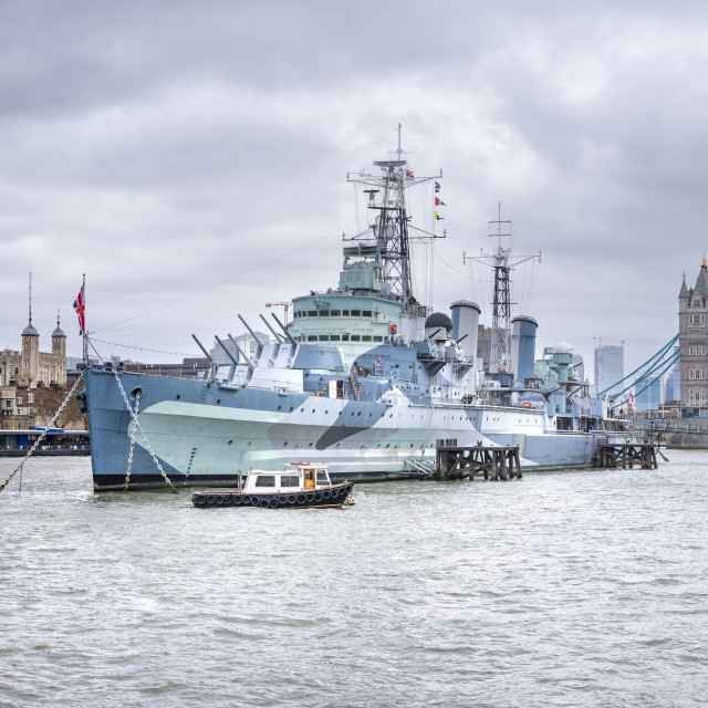 """HMS Belfast and Tower Bridge, London."" stock image"