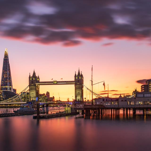 """Sunset Tower Bridge"" stock image"