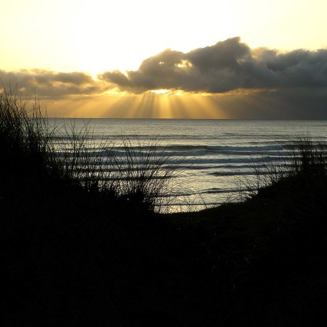 """Evening sunshine through the sand dunes."" stock image"