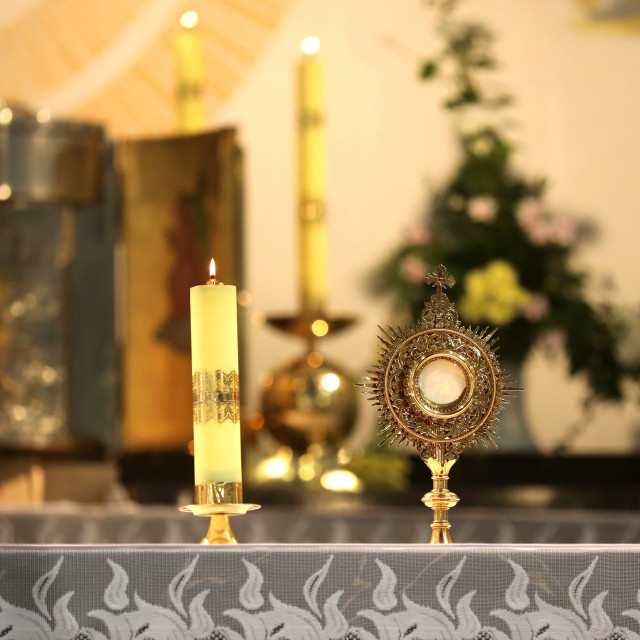 """A ceremony in the church to issue the Monstrance."" stock image"