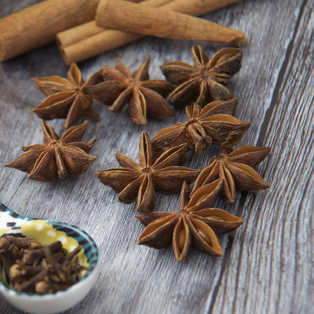 """""""Overhead of autumnal spices on wooden background"""" stock image"""