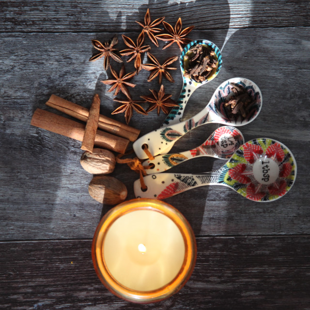 """""""Autumn spices and candle overhead"""" stock image"""